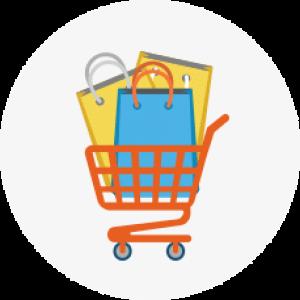 אייקון של עגלת קניות מלאה הממחישה מחירים זולים של מוצרי אריזה באתר